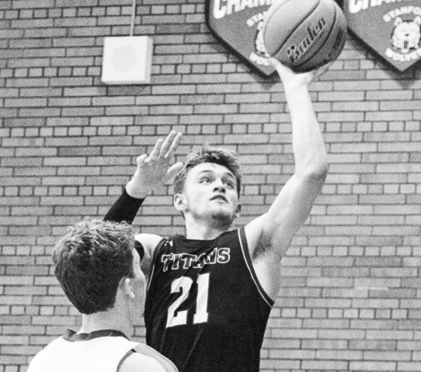 Tri-City's All-Conference selection Zack Thomas takes a jump shot during the game against DGS this season.