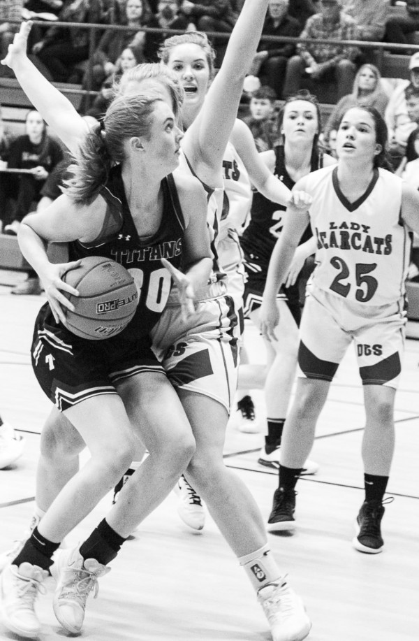 All-Conference selection Danielle Horan eyes the basket before going in for a layup.