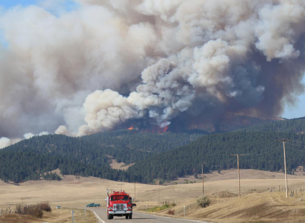 Fire rages in Moccasins